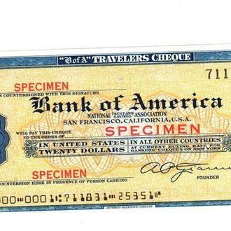 Дорожный Чек США. $20 Образец 2