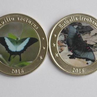 Западные Зондские острова 1 доллар 2016 год БАБОЧКИ