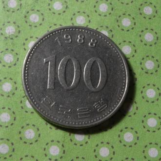 Корея 1988 год монета 100 вон !