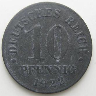 Германия 10 пфеннигов (PFENNIG) 1922 год ()