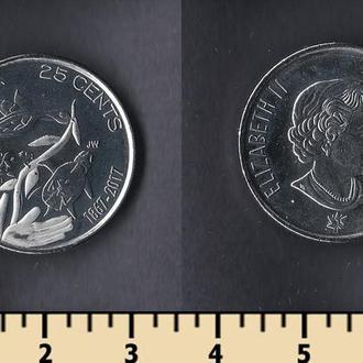 Канада 25 центов 2017