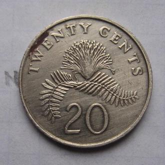 СИНГАПУР, 20 центов 1990 г.