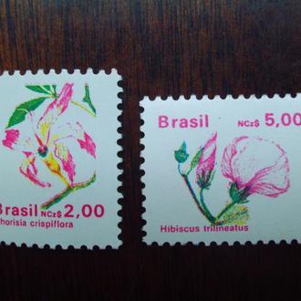 Бразилия.1989г. Флора. Цветы. Полная серия. МNН