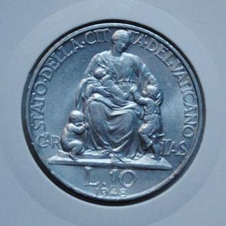 Ватикан 10 лир 1948 г., UNC, 'Папа Пий XII (1939-1958)'