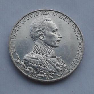 1913 г - 3 марки Германии,Вильгельм в мундире,серебро № 2