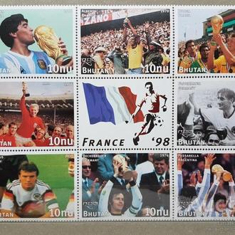 футбол ЧМ 1998 Бутан сцепка 8 марок+купон капитаны чемпионов мира**