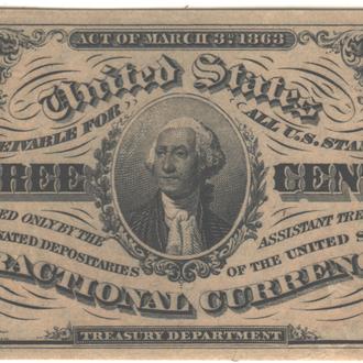 3 цента США 1863 г. в UNC