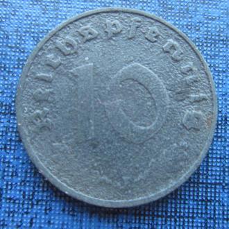 монета 10 пфеннигов Германия 1940 J свастика Рейх