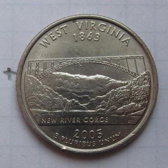 """США, 25 центов 2005 г. (ЗАПАДНАЯ ВИРДЖИНИЯ) """"Р""""."""