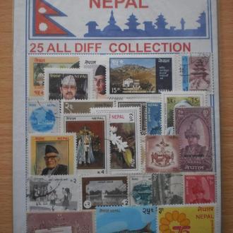 Марки Непалу. Непал. Рідкісний набір поштових марок Непалу. 25 різних марок. Фауна, культура, історі