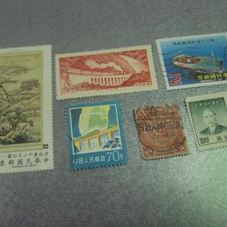 марки Китай мост промышленность 1952, дракон императорский, живопись флот лот 6 шт №172