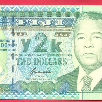 Боны Океания Фиджи 2 доллара  2000 г.