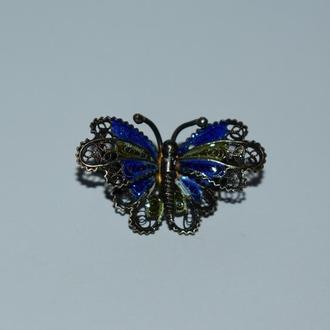 потрясающая брошь бабочка серебро 800 проба эмали позолота вес 3,1 грамм патина винтаж