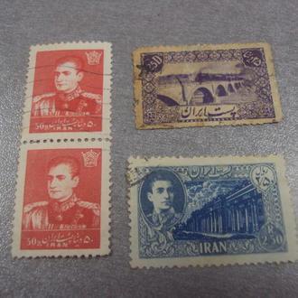марки Иран главы 1959 мост паровоз ландшафт личности лот 4 шт №214
