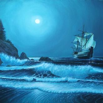 Под шелест волн и молчание луны. Холст, масло, 60х80 см. Алек Гросс