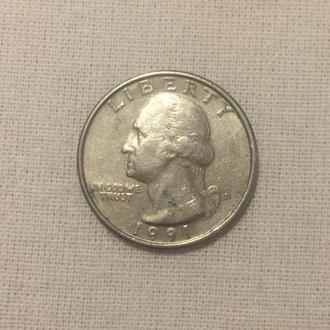 2 американских доллара монетами - четвертаками