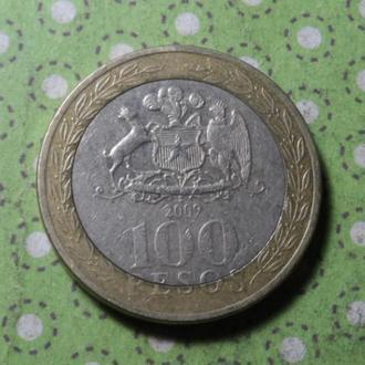 Чили 2009 год монета 100 песо биметалл