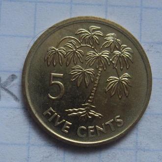 СЕЙШЕЛЬСКИЕ ОСТРОВА, 5 центов 2007 г. (ПАЛЬМА; состояние).
