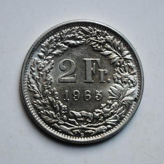 Швейцария 2 франка 1965 г., СЕРЕБРО, СОСТОЯНИЕ