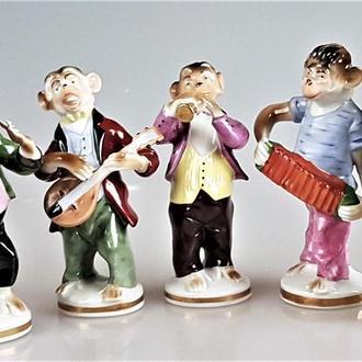 обезьяна редкая статуэтка фарфор оркестр обезьян Sitzendorf Thüringen Германия