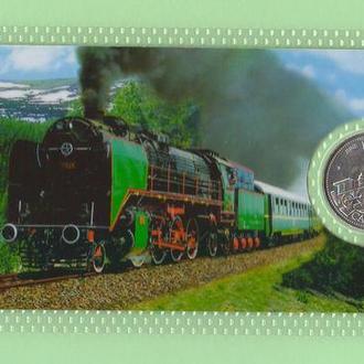 Монета КАНАДА 25 центов JUNE ИЮНЬ ЧЕРВЕНЬ ПАРАВОЗ ПОЕЗД квотер 1999 год в пластике блистер запайка
