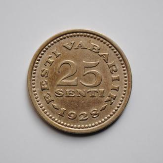Эстония 25 сентов 1928 г., XF, '1ая Республика (Крона) (1928-1940)'