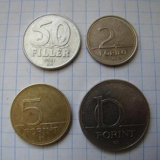 50 филлеров и 2, 5, 10 форинтов, Венгрия (см. описание).