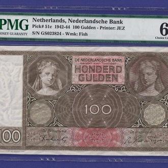 Голландия 100 гульден 1942-1944 UNC Нидерланды