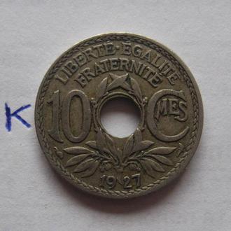 Франция, 10 сантимов 1927 года.
