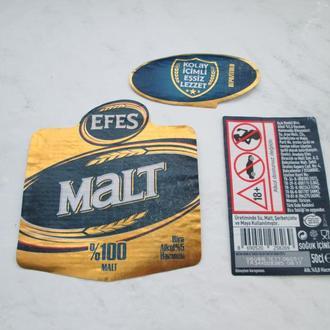 Этикетка пивная Efes Malt, Турция