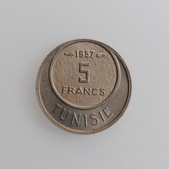 """Тунис 5 франков 1957 г., UNC, """"Французский протекторат (1890 - 1957)"""""""