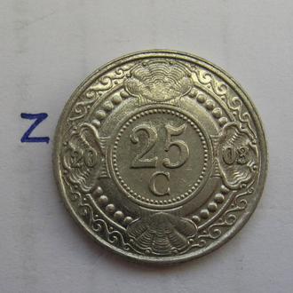 НИДЕРЛАНДСКИЕ АНТИЛЬСКИЕ ОСТРОВА 25 центов 2003 года.
