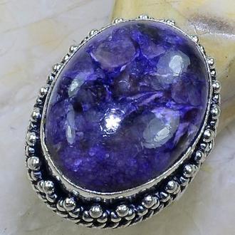 Кольцо природный Чароит