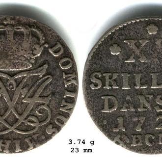 Норвегия 12 скиллинг 1720. Фредерик IV. Раритет.