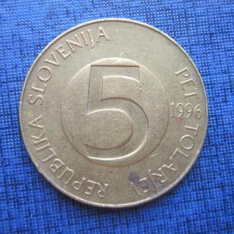 монета 5 толаров Словения 1996 фауна козёл