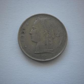 Найдешевші монети. Монета старого зразка. Бельгія. 1 франк. 1951 рік. Дуже ДЕШЕВО.