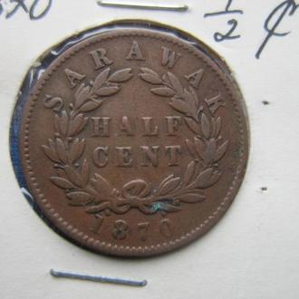 монета 1/2 цента Саравак 1870 состояние