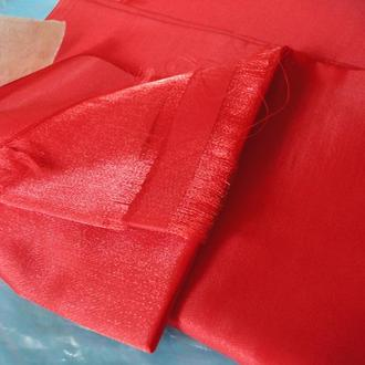 Отрез Ткань креп-сатин красный блестящий 70-е г. Япония
