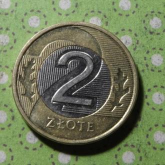Польша монета 2 злотых 2016 год биметалл !