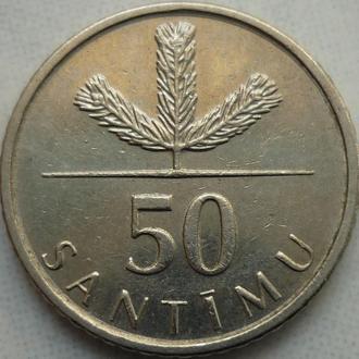 Латвия 50 сантимов 2007 флора состояние