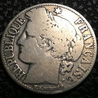 Франция 1 франк 1872 год Серебро 835, вес 5 гр.