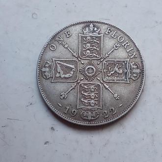 Великобритания 2 шиллинга (флорин) 1922 г. Георг V. Серебро 500