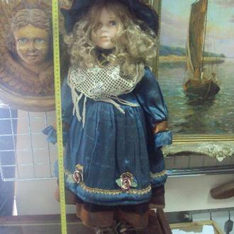 игрушка детская кукла фарфоровая девочка в шляпе высокая 65 см