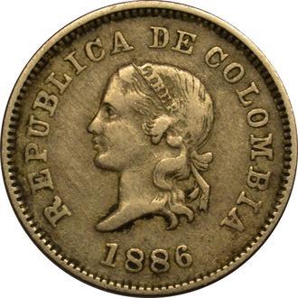Колумбія 5 centavos 1886  A56