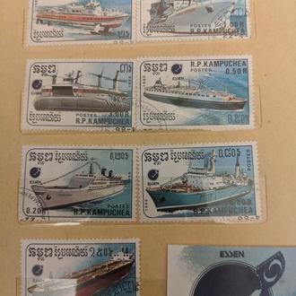 Марки с кораблями, Камбоджия Азия 1988 год 7шт+1 большая