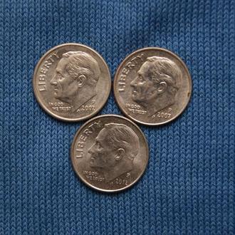 США 10 центов дайм  2002  2007  2012 г   Р  3шт одним лотом