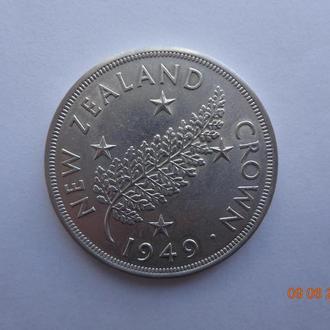 Новая Зеландия 1 крона 1949 George VI серебро отличное состояние очень редкая