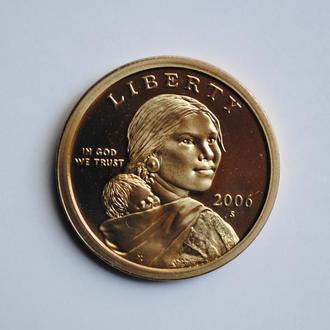 США 1 доллар 2006 г. S, PROOF, 'Доллар Сакагавея'