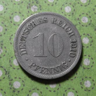 Германия монета 10 пфеннигов 1910 год  F