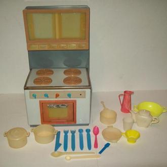 Игрушка детская кукольная газовая плита кукольная посуда мебель СССР жесть клеймо